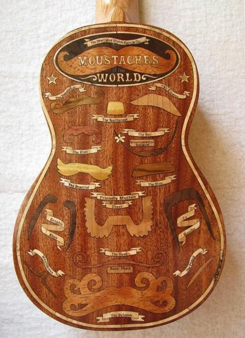 Music moustaches hipster funny ukulele - 7622584576