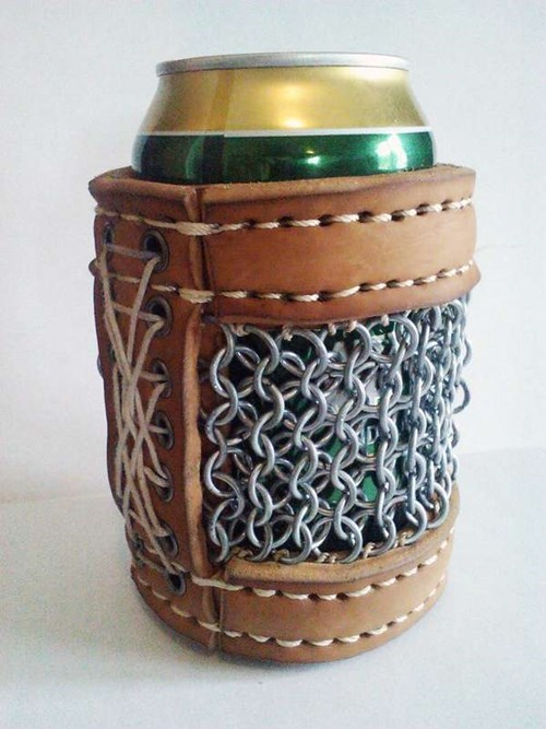 beer koozie chainmail armor funny - 7622656768