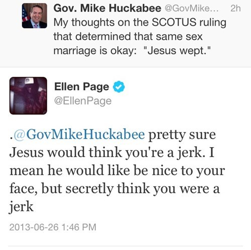 Ellen Page Has Some Choice Words for Mike Huckabee