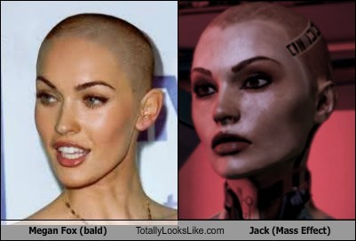 Megan Fox (bald) Totally Looks Like Jack (Mass Effect)