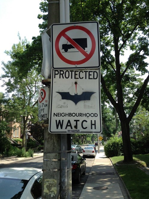 sign hacked irl superheroes batman funny - 7623418112