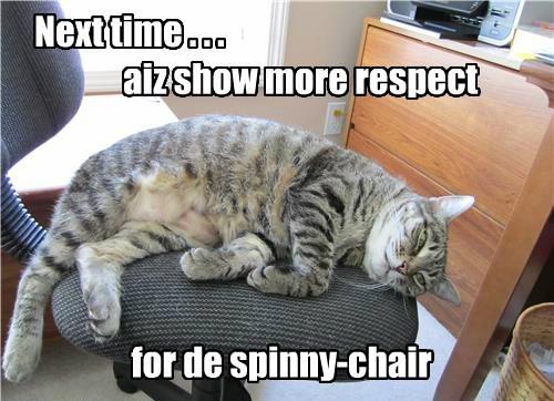 Next time . . . aiz show more respect for de spinny-chair