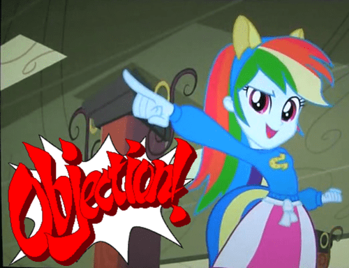 phoenix wright,objection,rainbow dash