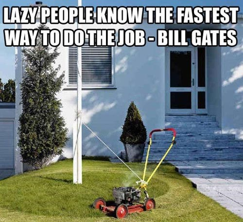 mowing the lawn,lawn mowers,funny,lazy man's solution