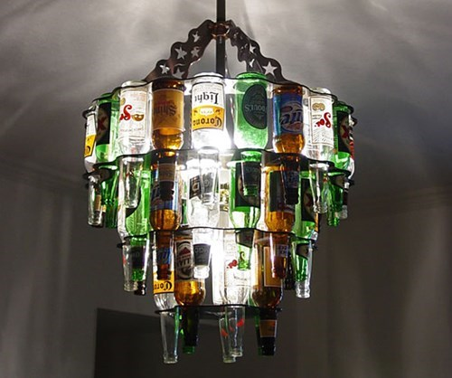 cool,beer,chandelier,funny,bottles