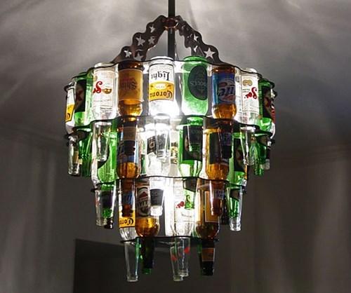 cool beer chandelier funny bottles