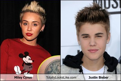 totally looks like,miley cyrus,funny,justin bieber