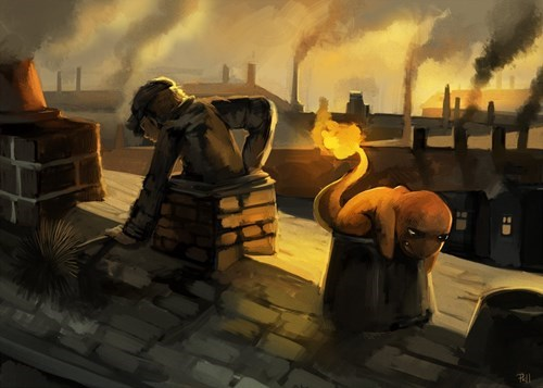 chimneys art charmander - 7628791040