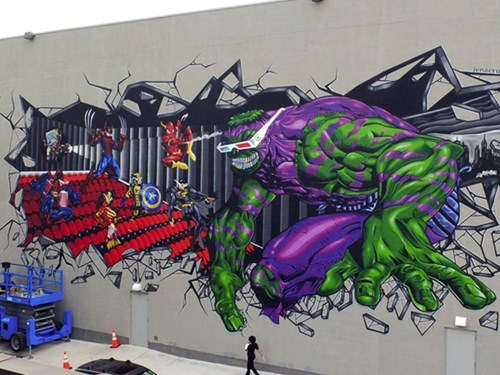 the hulk,Street Art,nerdgasm,hacked irl,superheroes,funny