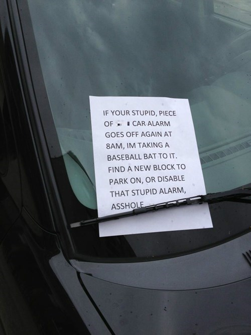 sign,car alarm,funny