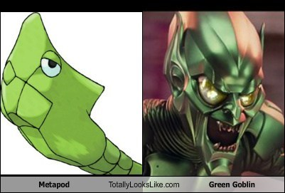 Pokémon metapod totally looks like green goblin funny