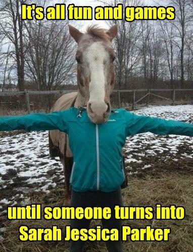 sarah jessica parker horse face funny - 7634619392