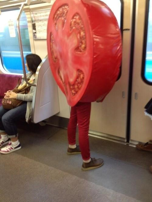 tomatoes,public transportation,costume,funny,poorly dressed,g rated