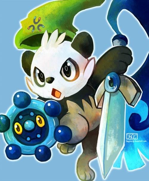 Pokémon art pancham - 7634708224