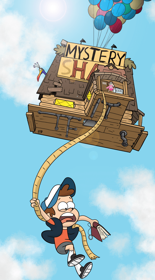 crossover,disney,up,Fan Art,gravity falls