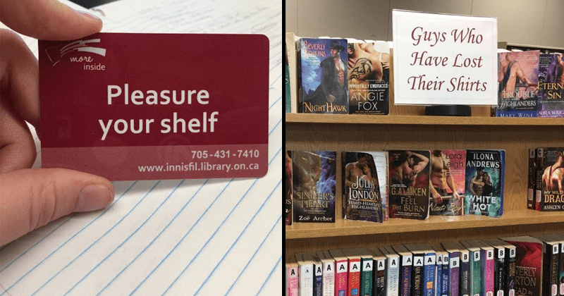 Funny library book signs and displays.
