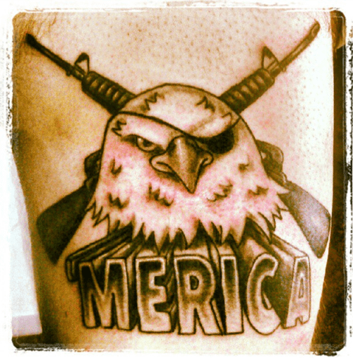 guns,eagles,tattoos,america,funny,g rated,Ugliest Tattoos