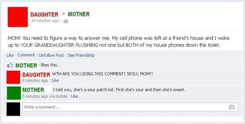 phones mother flush parenting daughter