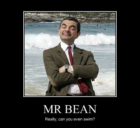 mr-bean,swimming,funny