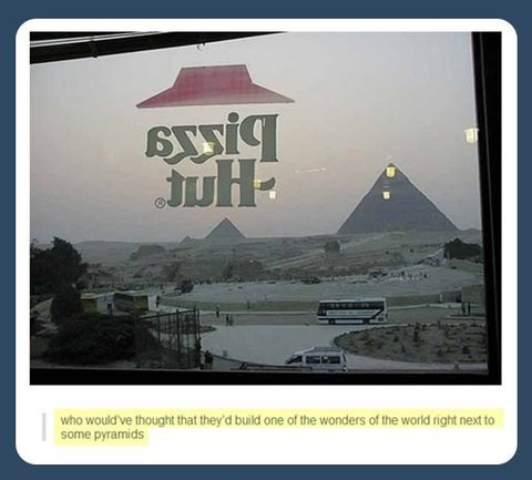 giza,pizza hut,pizza,egypt,pyramids