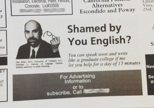 ESL language instruction english newspaper ads monday thru friday g rated