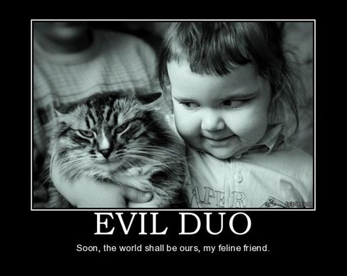 duo,cat,kids,evil,funny
