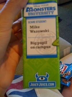 monsters university,puns,juice box,mike wazowski,funny