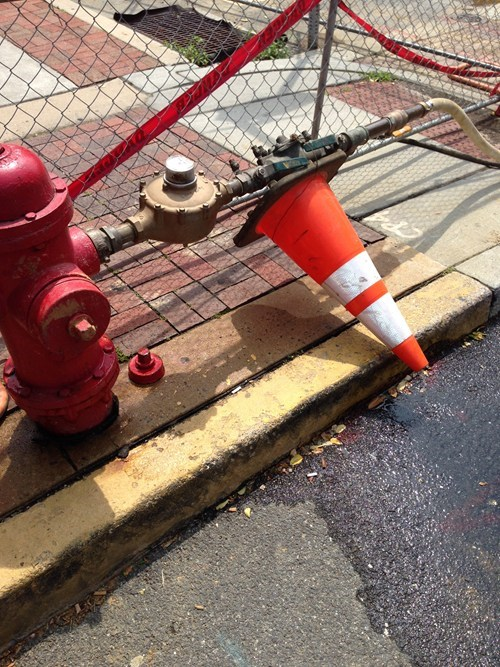 fire hydrants,road cones,leaks,funny