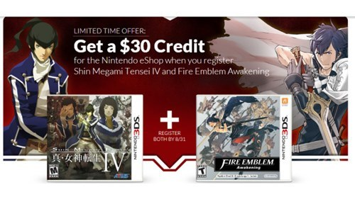 Buy and Register Fire Emblem: Awakening and Shin Megami Tensei IV on Club Nintendo and Get $30 eShop Credit