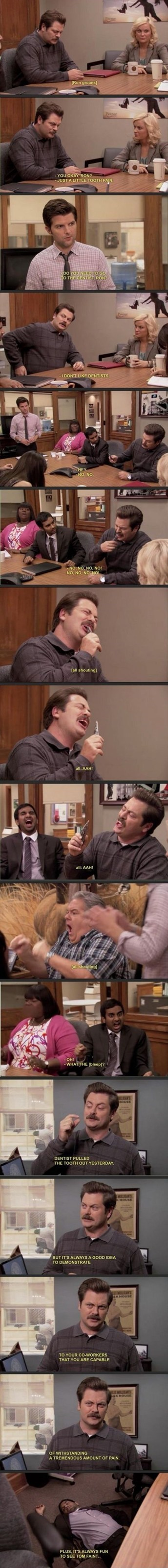 parks and recreation,ron swanson,teeth,funny
