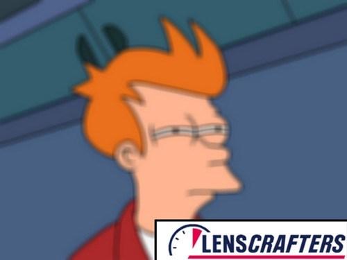vision blurry fry meme lenscrafters I wear glasses huehuehuehue - 7645734144