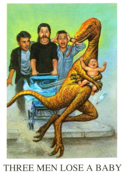 wtf,three men and a baby,funny,dinosaurs