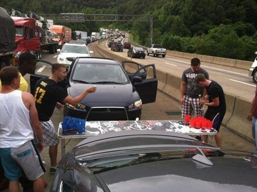 Traffic Jam,cars,beer pong,funny