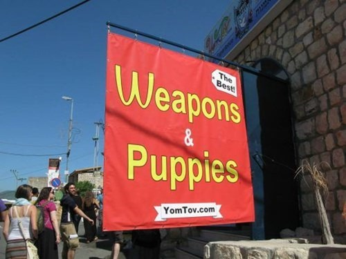 guns,sign,puppies,what,funny,weird,store,fail nation,g rated