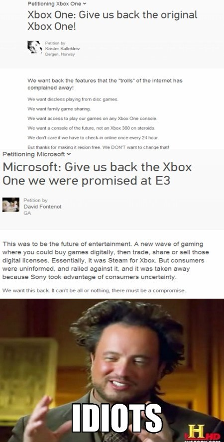 Aliens,xbox,idiots,petitions,funny