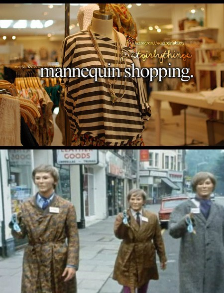 just girly things,Mannequins,shopping,masks,funny