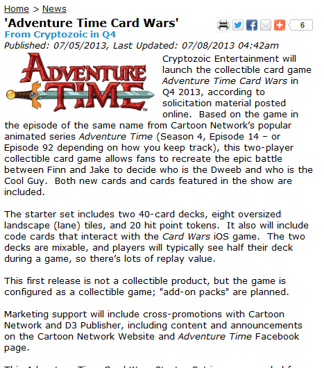 Card Wars To Be Actual Card Game!