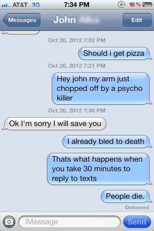 pizza dying texting john - 7651920896
