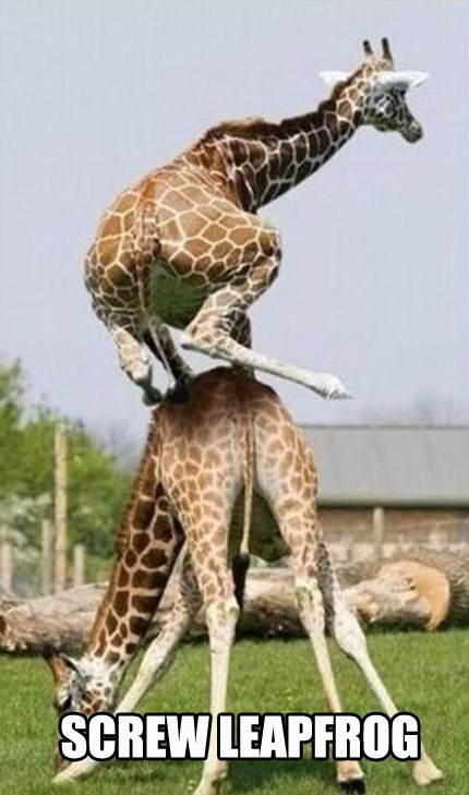 wusses,giraffes,funny,leap frog