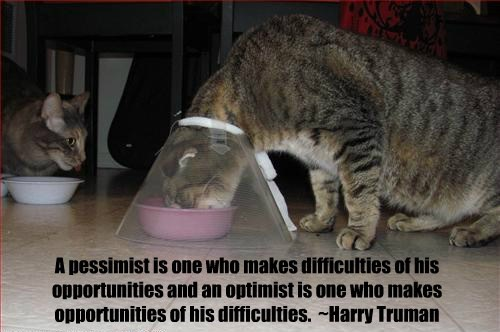 A pessimist is one who makes difficulties of his opportunities and an optimist is one who makes opportunities of his difficulties. ~Harry Truman