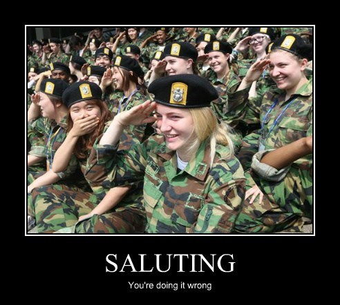 wtf salute laugh soldiers funny - 7653349376