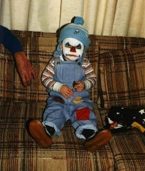 scary child clown poorly dressed g rated