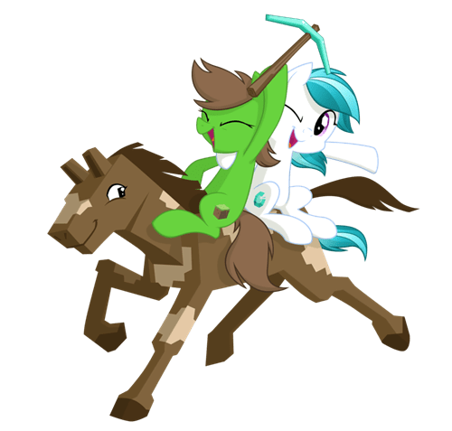 fan art of my little pony characters riding a minecraft style horse video game gaming