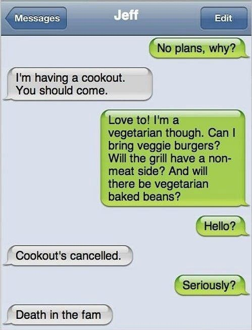 bbqs vegetarians funny meat - 7654991616