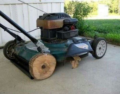 mowing the grass wheels grass lawnmowers funny - 7655431680
