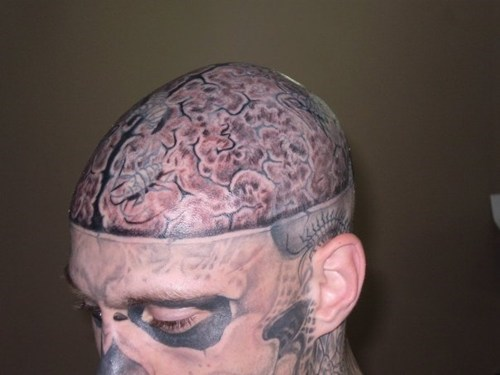 yikes brains skull tattoos face tattoos funny - 7655917312