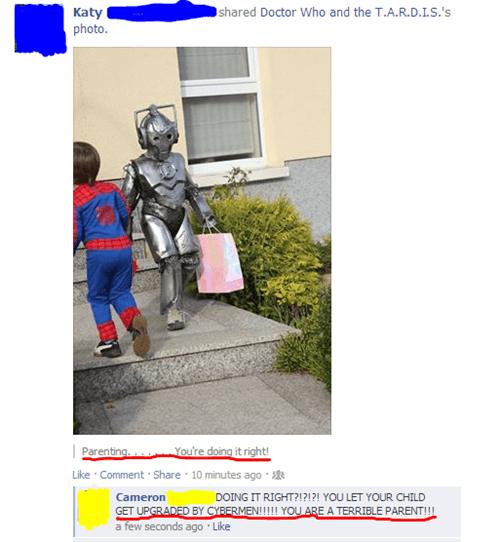 parenting,cybermen,facebook,doctor who