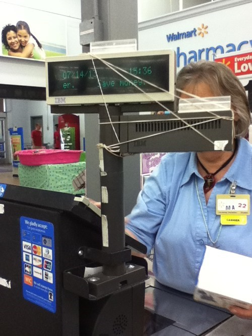 rubber bands cash registers Walmart funny