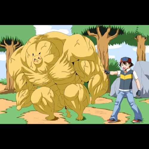 Pokémon,wtf,pikachu,muscles,funny