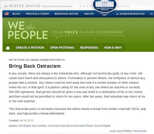 ostracism,democracy,petitions,white house petitions